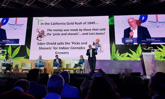 EdenShield Chairman Peter J. Shaw presents at the session Cannabis Revolution: Saving Lives and Changing Society, OurCrowd Summit, Jerusalem, 7 March.