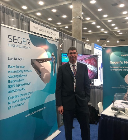 Seger Surgical Solutions CEO Kobby Greenberg in the company booth at SAGES, Baltimore, Maryland, 3-6 April.