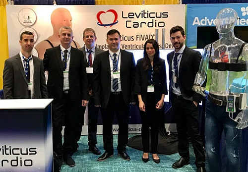 The Leviticus Cardio R&D team at the International Society for Heart & Lung Transplantation (ISHLT) Annual Meeting, Orlando, Florida, 3-6 April (l to r): Integration Engineer Eli Asulin, CEO Michael Zilbershlag, Director R&D Neri Naveh, Embedded Software Manager Denis Yurchenko, Biomedical Engineer Yael Priz, Project Leader Haim Yaniv. More than 120 doctors participated in the Leviticus and Jarvik Heart symposium at ISHLT.
