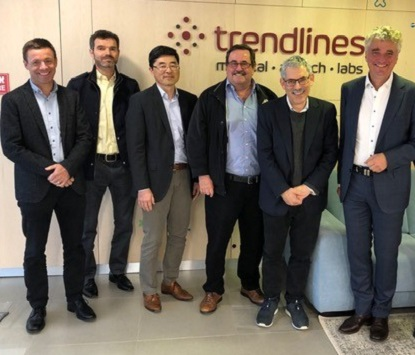 The AO Development Incubator held its board meeting at our offices, 21 April. Pictured (l to r): Roland Herzog, Andrea Montali, Keita Ito, Röbi Frigg, Trendlines Chairman & CEO Todd Dollinger, Michael Schuetz.