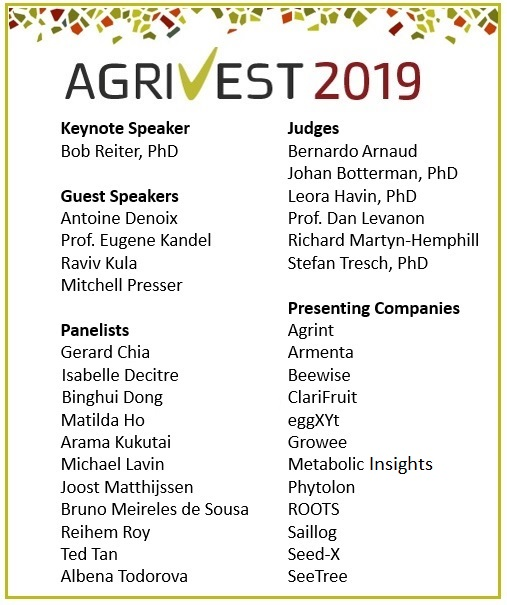 Don't miss this great lineup of speakers, panelists, judges, and companies at AgriVest 2019.