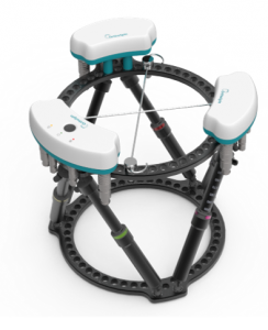 The OrthoSpin strut and control box are part of a smart external fixation system.